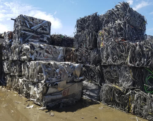 Recycled aluminum, ready to be processed for sale.